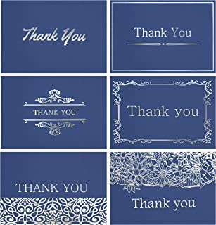 120 Elegant Thank You Cards in Navy Blue with Envelopes & Stickers - Highest Quality 6 Designs Bulk Notes Embossed with Silver Foil Letters for Wedding, Formal, Business, Graduation, Funeral 4x6