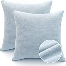 FINIFUR Light Blue Pillow Covers 18x18 Inch, Set of 2 Chenille Decorative Farmhouse Throw Pillow Covers, Square Cushion Co...