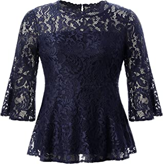 Women's Plus Size Stretch Romantic Lace Peplum Top with Scalloped Neck & Flare Sleeves