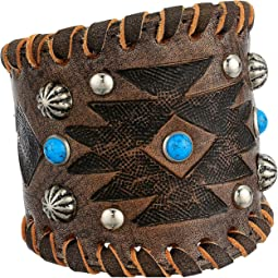 Distressed Charcoal Brown/Turquoise/Southwest Tooled