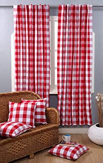 Farmhouse Curtain in Gingham Plaid Check Fabric 50x84 Red & White, Cotton Curtains, 2 Panels Curtain,Tab Top Curtains, Room Darkening Drapes, Curtains for Bedroom, Curtains for Living Room, Set of 2