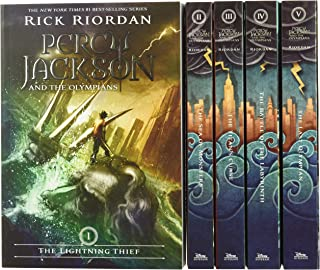 Percy Jackson and the Olympians 5 Book Paperback Boxed Set (Covers W/Poster) by Rick Riordan, John Rocco - Paperback
