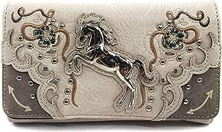 Zelris Floral Poppy Horse Western Women Crossbody Wrist Trifold Wallet (Beige Silver)