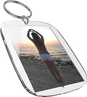 Llavero con marco para fotos (50 x 35 mm, 5 piezas) para fotografías tamaño carnet, imágenes o placa con nombre. De acríli...