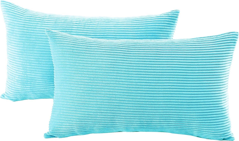 VERCART Juego de 2 Pana Fundas Cojines Decorativas Cuadrado Suave Fundas de Almohada para Sofá Dormitorio Coche Cama Sillas, Azul 30x50cm