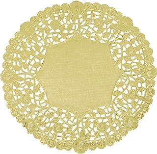 12 Inch Gold Foil Round Lancaster Paper Lace Doilies   100 pack