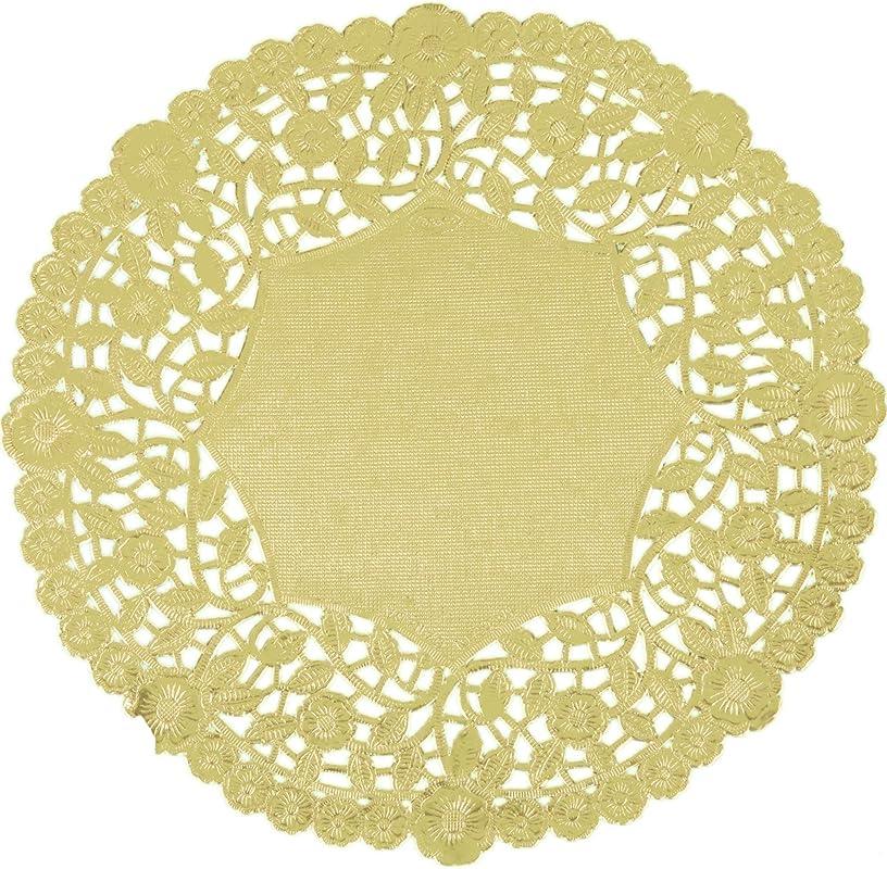 10 Inch Gold Foil Round Lancaster Paper Lace Doilies 100 Pack