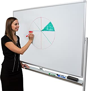 Large Whiteboard Rolling On A Stand 6' x 4' | Mobile Double-Sided Magnetic Giant Dry Erase White Board 70