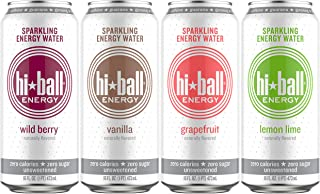 Hiball Energy Sparkling Water, Vanilla, Wild Berry, Grapefruit, and Lemon Lime, Variety Pack, 16 Fl. Oz (Pack of 12)
