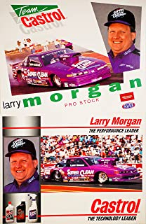 1994 - NHRA - Winston Drag Racing - Larry Morgan - Pro Stock - Oldsmobile Cutlass / Team Castrol / Super Clean - Bob Panella Racing - 2 Hero Cards - 8x10 Inches - OOP - Collectible