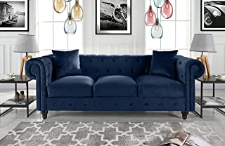 DIVANO ROMA FURNITURE Classic Velvet Scroll Arm Tufted Button Chesterfield Style Sofa (Navy)