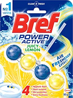 Bref Power Active Juicy Lemon, Rim Block Toilet Cleaner, 50g