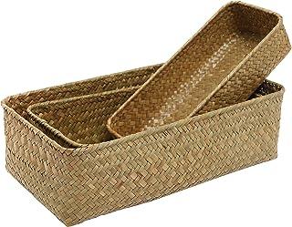 MyGift Set of 3 Rectangular Handwoven Natural Seagrass Wicker Nesting Storage Baskets and Home Organizer Bins