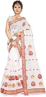 S Kiran's Women's Cotton Assamese Art Nuni Plain Weave Mekhela Chador (Cream and Red)