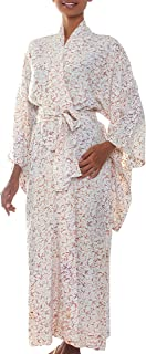 NOVICA Fair Trade Natural White Floral Patterned Batik Robe, Bali Arabesques'