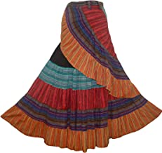 14 WS Women's Distressed Cotton Boho Chic Broom Mopping Patch Ruffle Wrap Skirt Maxi