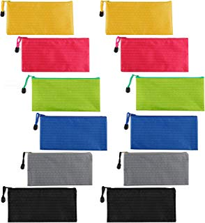 Gydandir 12 Pieces Zipper Bag Waterproof Canvas Bag Files Bag Bill Pouch for Cosmetic Makeup Office Supplies and Travel Accessories 6 Colors (Blue, Green, Black, Rose Red, Yellow, Silver Grey)