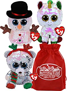 TY Beanie Boos Flippables Sequin Mistletoe (Bear), Melty (Snowman) & Stardust (Unicorn) Holiday Set Bundle with Matty's To...