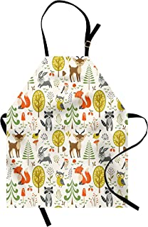 Lunarable Animals Apron, Woodland Forest Animals Trees Birds Owls Fox Bunny Deer Raccoon Mushroom Print, Unisex Kitchen Bib with Adjustable Neck for Cooking Gardening, Adult Size, Orange Brown