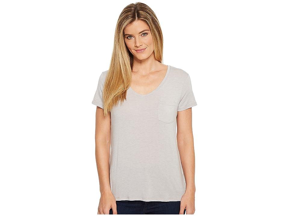 Prana Foundation Short Sleeve V-Neck Top (Light Grey Heather) Women