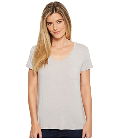 Prana Foundation Short Sleeve V-Neck Top (Light Grey Heather) Women