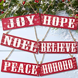 6 Pieces Christmas Wooden Decor Vintage Christmas Home Decor Rustic Wooden Wall Plaque Joy Peace Hohoho Hanging Ornament for Christmas Holiday Anniversary Birthday Party Home (Red Series)