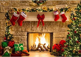 Haboke 8x6ft Soft Wrinkle Free Fabric Christmas Fireplace Theme Backdrop for Photography Tree Sock Gift Decorations for Xmas Party Supplies Photo Background Pictures Banner Studio Decor Booth Props
