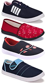 WORLD WEAR FOOTWEAR Women's (5042-9041-9236-1450) Multicolor Casual Sports Running Shoes (Set of 4 Pair)