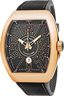 Vanguard Mens 18K Rose-Gold Case Grey Face Automatic Date Grey Rubber Strap Swiss Watch V 45 SC DT 5N TT