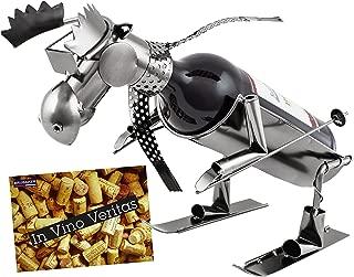 BRUBAKER Wine Bottle Holder Skiing Moose - Metal Sculpture - Wine Rack Decor - Tabletop - with Greeting Card