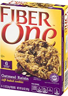 GMI FIBER ONE COOKIES Oatmeal Raisin Soft-Baked Cookies Box, 6.6 Ounce