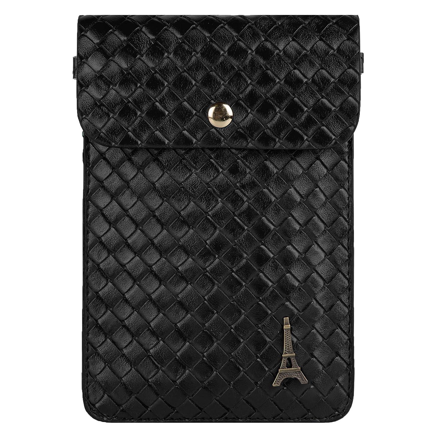 VanGoddy Braided PU Leather Pouch Case for BLU Neo 4.5 / Neo 3.5 / Vivo 4.8 HD Unlocked Phones (Black)