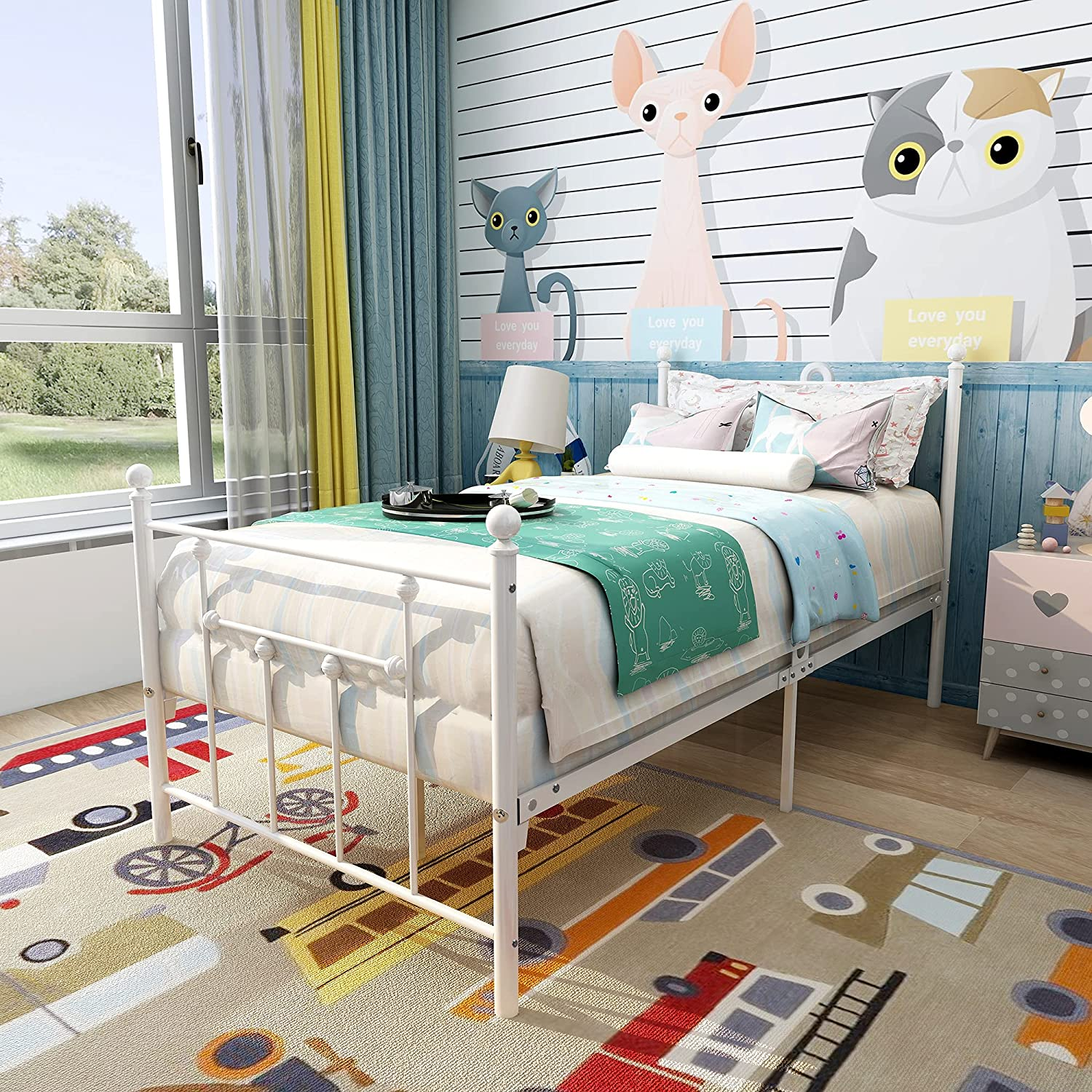 Elegant Home Products Metal Bed Frame Twin Size Platform Foundation with Headboard and Footboard Heavy Duty Steel Slabs No Box Spring Needed,White