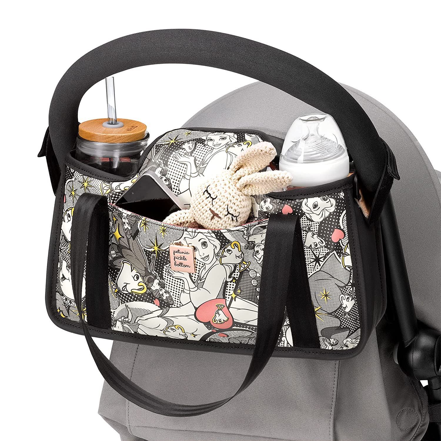 Petunia Pickle Bottom Wander Stroller Caddy   Perfect Baby Caddy to Keep Everything Organized   Multiple Carry Positions - Fits Most Strollers   Disney's Beauty & The Beast - Pop Art Belle