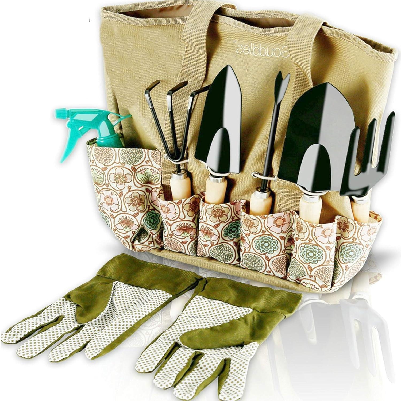 Kit jardinería 8 piezas organizador y guantes ergonónetrico