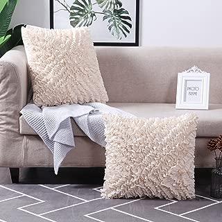 MoMA Decorative Throw Pillow Covers (Set of 2) - Pillow Cover Cushion Cover - Off White Cream Throw Pillow Cover - Decorative Sofa Throw Pillow Cover - Square Decorative Pillowcase - Cream - 18