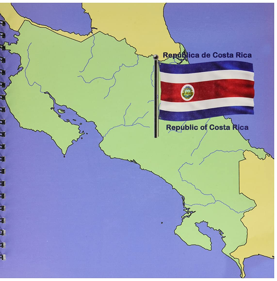 3dRose db_47675_2 Flag and Map of Costa Rica with Republic of Costa Rica Printed in Both English and Spanish Memory Book, 12 by 12-Inch