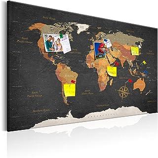 murando - Mapamundi con Tablero para Clavar chinchetas 120x80 cm - Cuadro en Lienzo sintético - Panel de Fibra - Mapa del Mundo Continente - k-C-0048-v-a