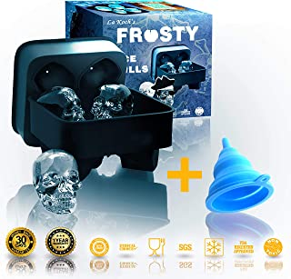 Silicone Ice Skull Mold Tray, Easy Release Silicone Mold, Large Round Ice Cube Maker. Makes 4 Huge Ice Skulls For Whiskey, Cocktails and other Beverages 🍹🍷🥂🍸 ♔ Frosty Ice Skulls from La Koch's 🏴⚓