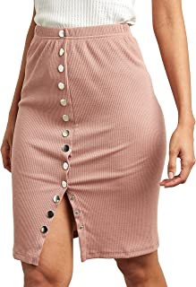 Popper Detail Ribbed Midi Bodycon Skirt For Women Closet by Styli