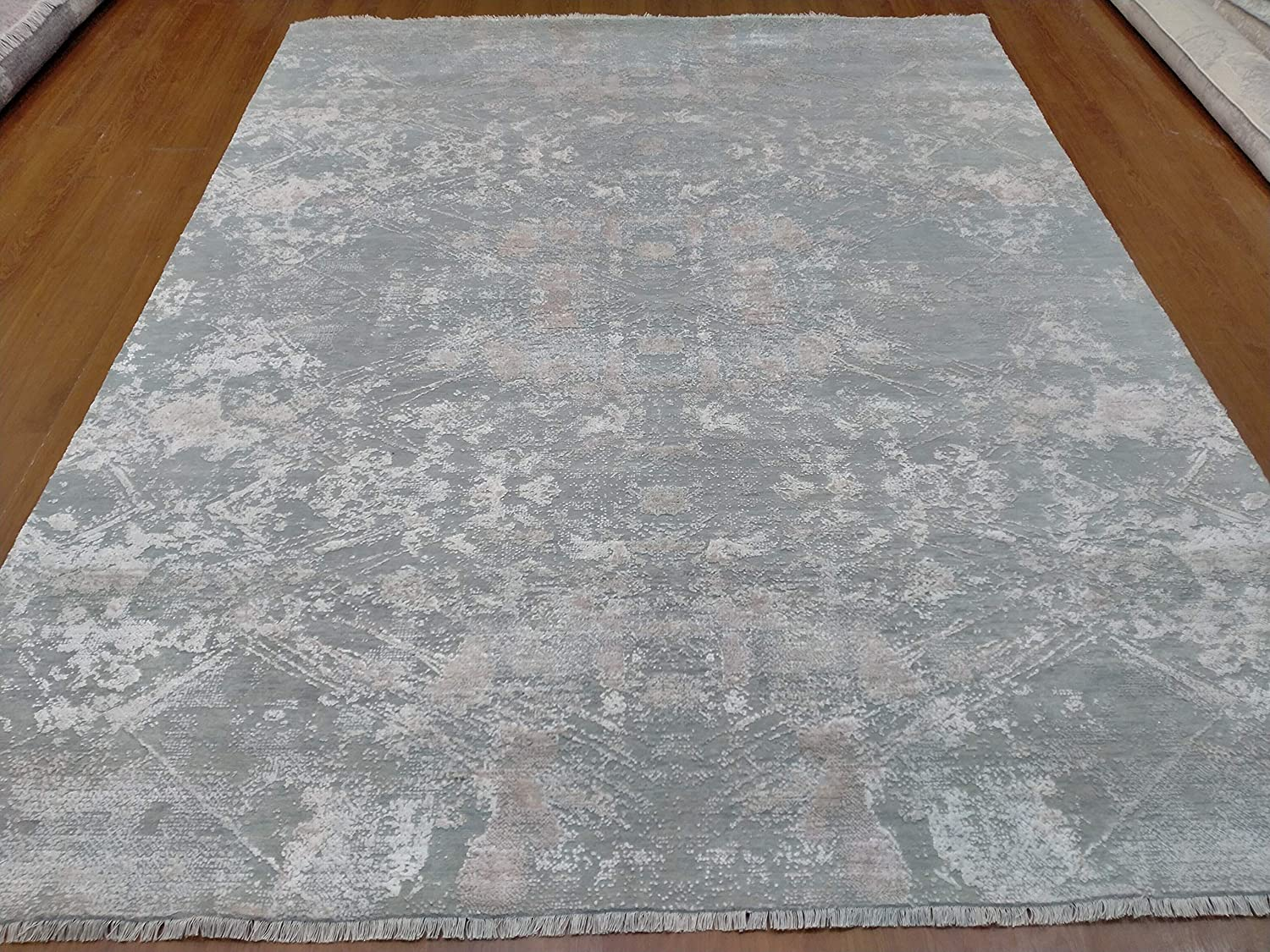 National uniform free shipping 8' x 10' Rug Modern favorite Luxury High Low Wool Tencel Hand-Knotted