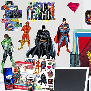 RoomMates DC Comics Wall Decal Bundle ~ 28 Justice League Decals Featuring Batman, Superman, The Flash, and Green Lantern ...