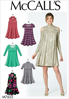 McCall's Patterns M7622ZZ0 Misses Knit Swing Dresses with Neckline and Sleeve Variations