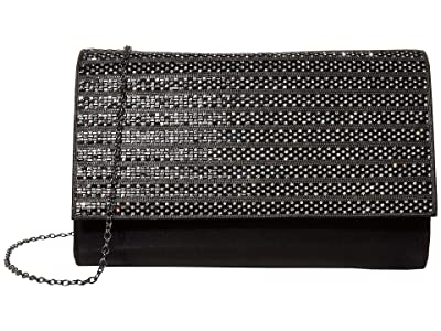 Jessica McClintock Nora Large Flap (Black/Gunmetal) Clutch Handbags