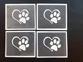 12 x Paw in heart stencils for glitter tattoos / airbrush / face painting / craft Crufts dog