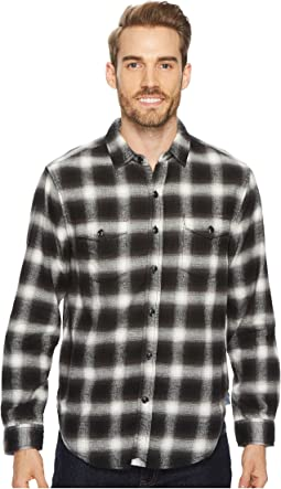 Redford Plaid Long Sleeve Two-Pocket Shirt with Chambray and Stitch Detail