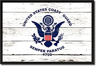 US Coast Guard Military Flag Shabby Chic Canvas Print Home Decor Man Cave Wall Art Collectible Decoration Artwork Gifts, Black Frame, 13