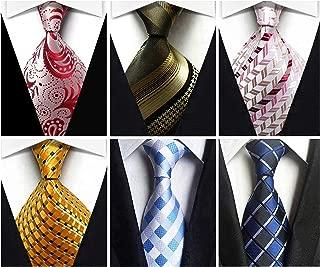 Wehug Lot 6 PCS Men's Silk Tie Woven Necktie Jacquard Classic Ties For Men