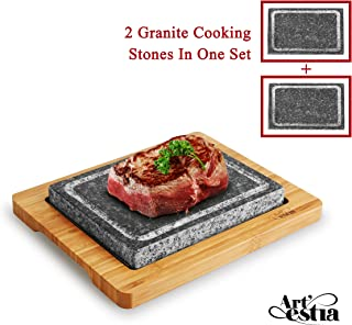 cooking steak on granite