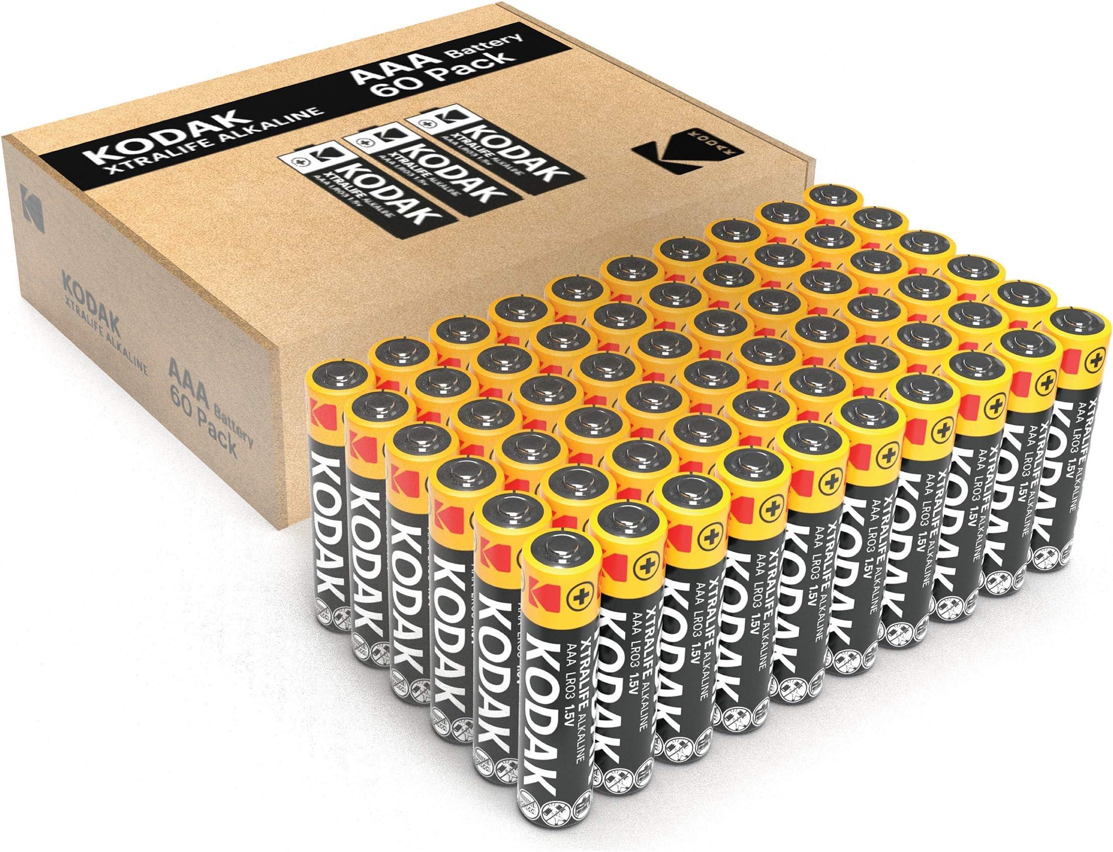 Amazon Com Kodak Aaa Batteries Long Lasting Performance Alkaline Batteries 1 5v 10 Year Shelf Life Bulk Pack 60 Aaa Electronics